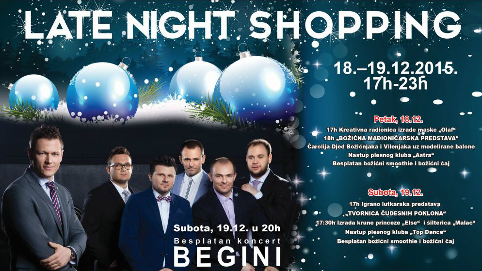 "CITY COLOSSEUM LATE NIGHT SHOPPING, POPUSTI DO 50% I KONCER GRUPE ""BEGINI"""